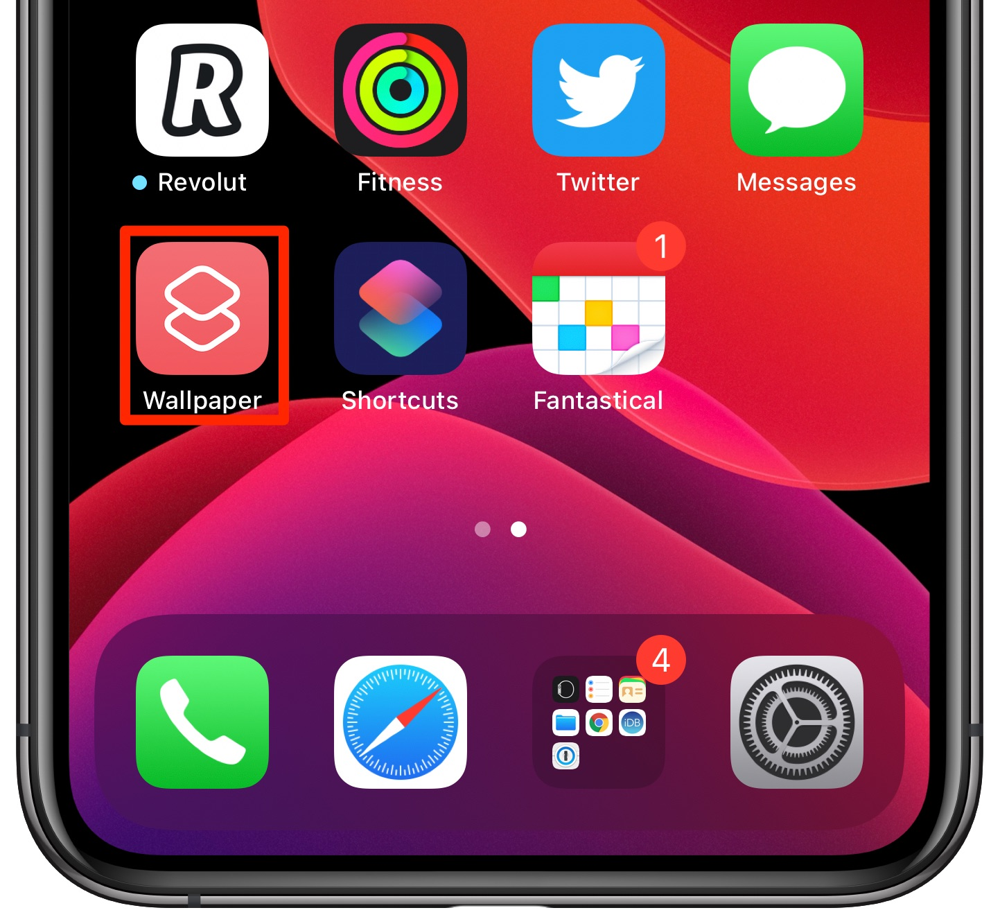 change iPhone wallpaper automatically - the Wallpaper script icon on the Home Screen
