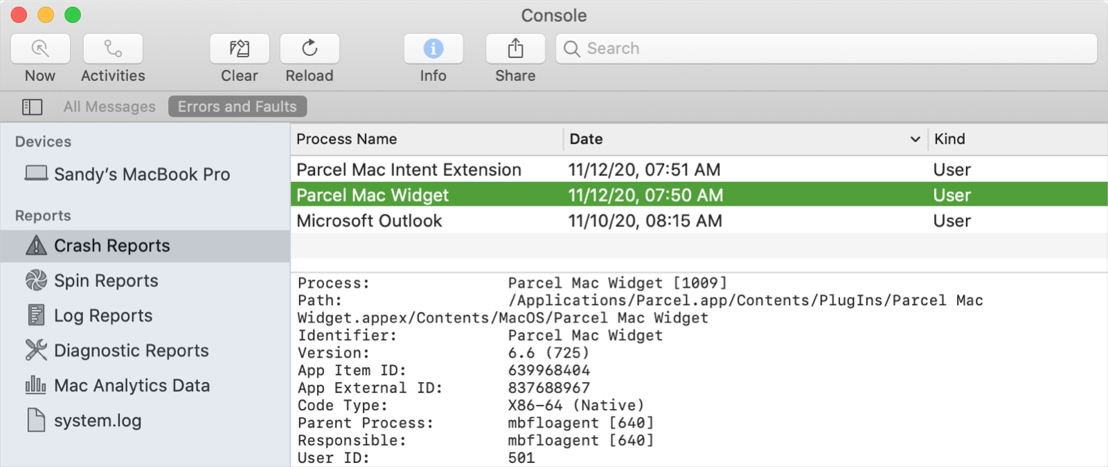 macOS Console Crash Reports