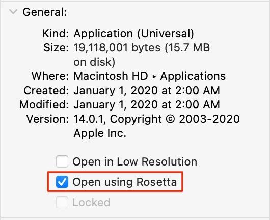 "Apple Rosetta 2 emulation - Get Info with ""Open using Rosetta"" selected"