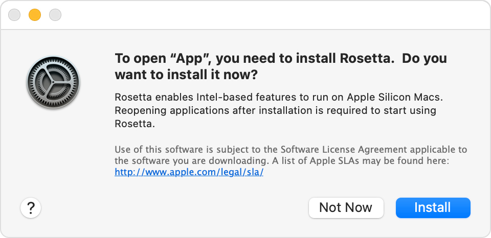Apple Rosetta 2 emulation - a macOS dialog in Big Sur asking to install the Rosetta component