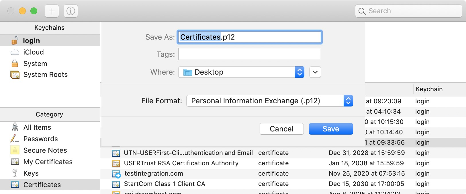 save certificate.p12 file
