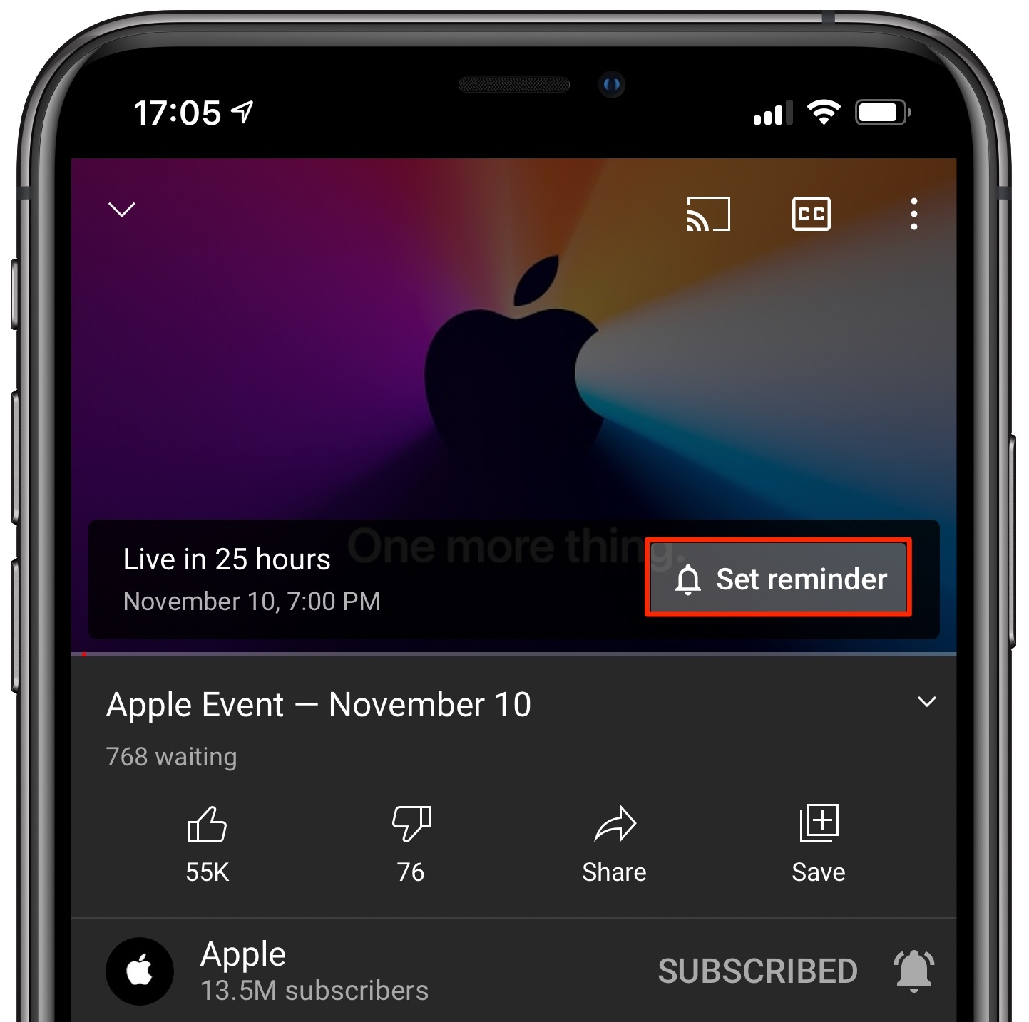 Watch Apple Silicon event - YouTube app