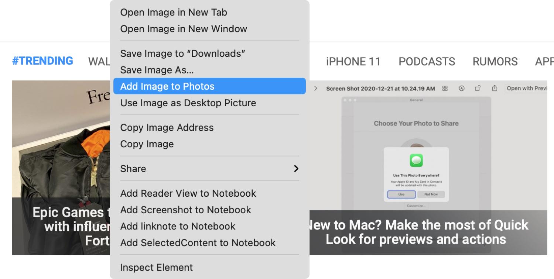 Add Image to Photos in Safari on Mac
