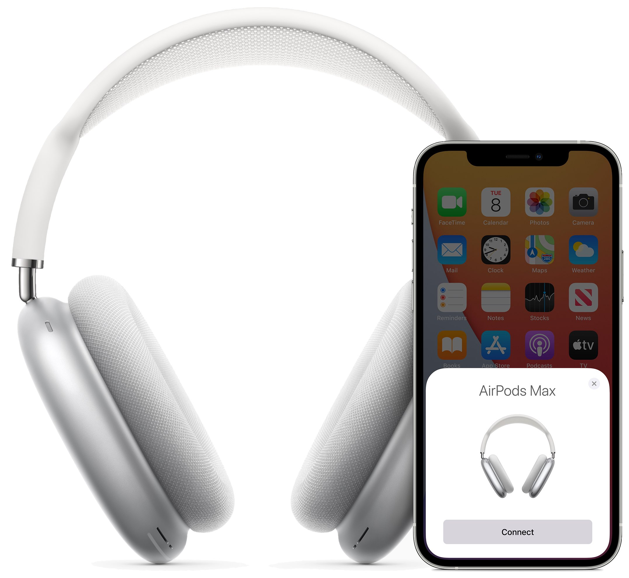 An image showing the AirPods Max pairing setup animation on an iPhone