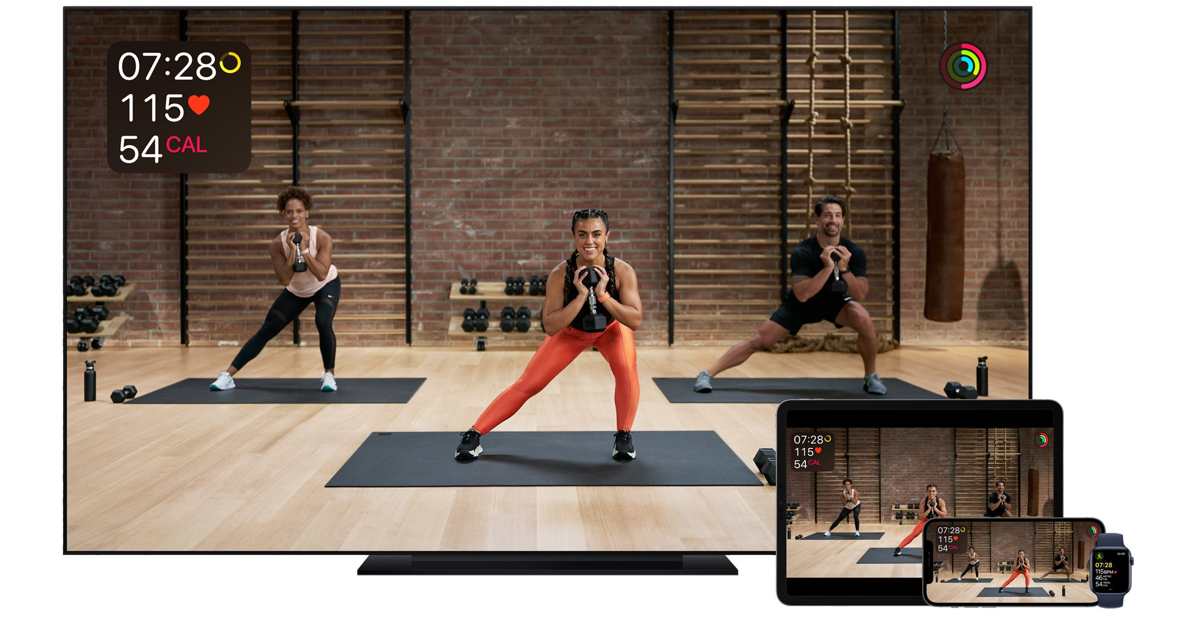 Apple's promotional image illustrating the Fitness+ subscription service