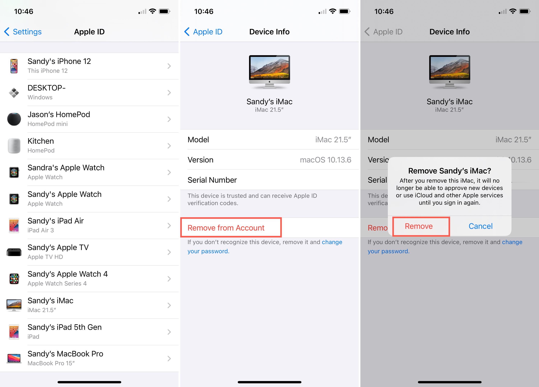 Apple ID Device List Remove on iPhone