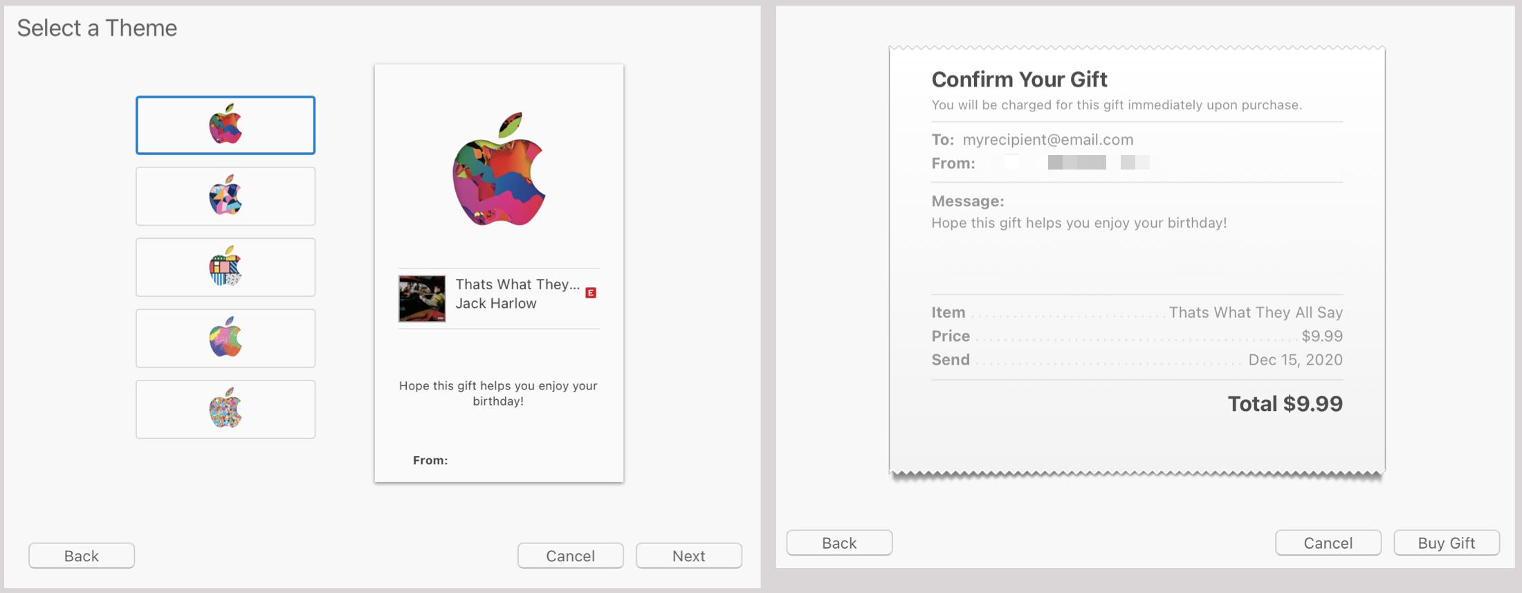 Buy Gift in iTunes on Mac