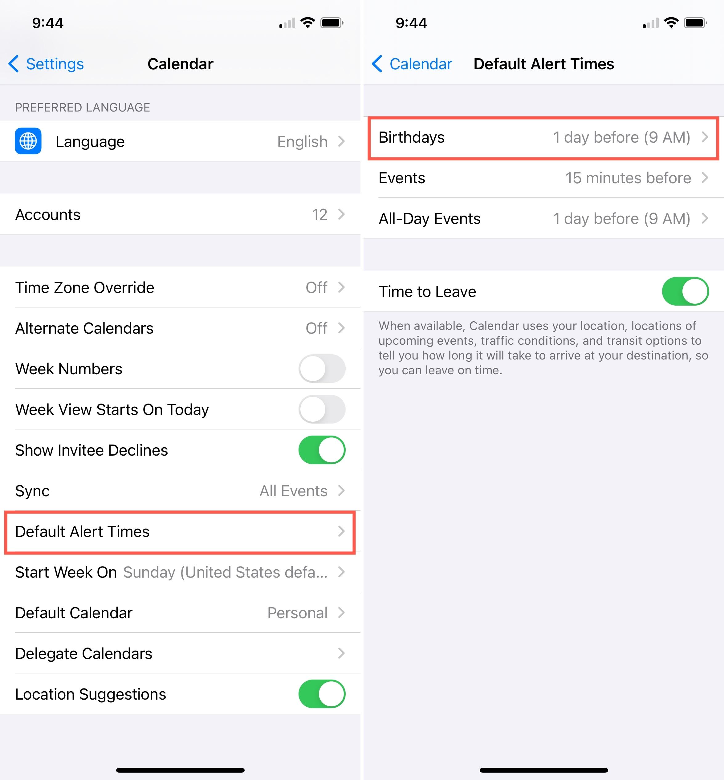 Calendar Alerts for Birthdays on iPhone