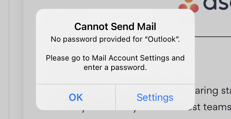 Cannot Send Mail Outlook iPad