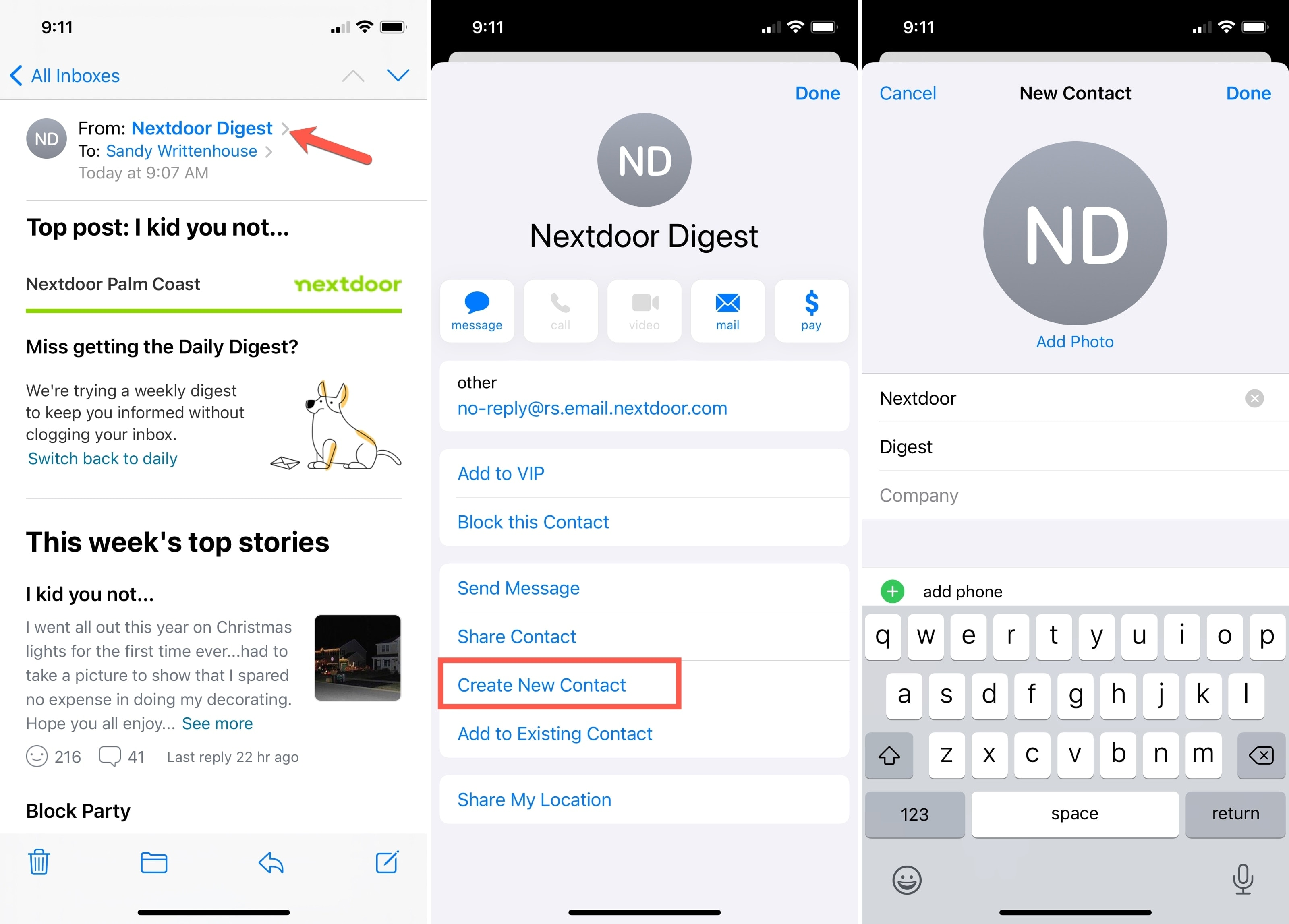 Create New Contact Mail App iPhone