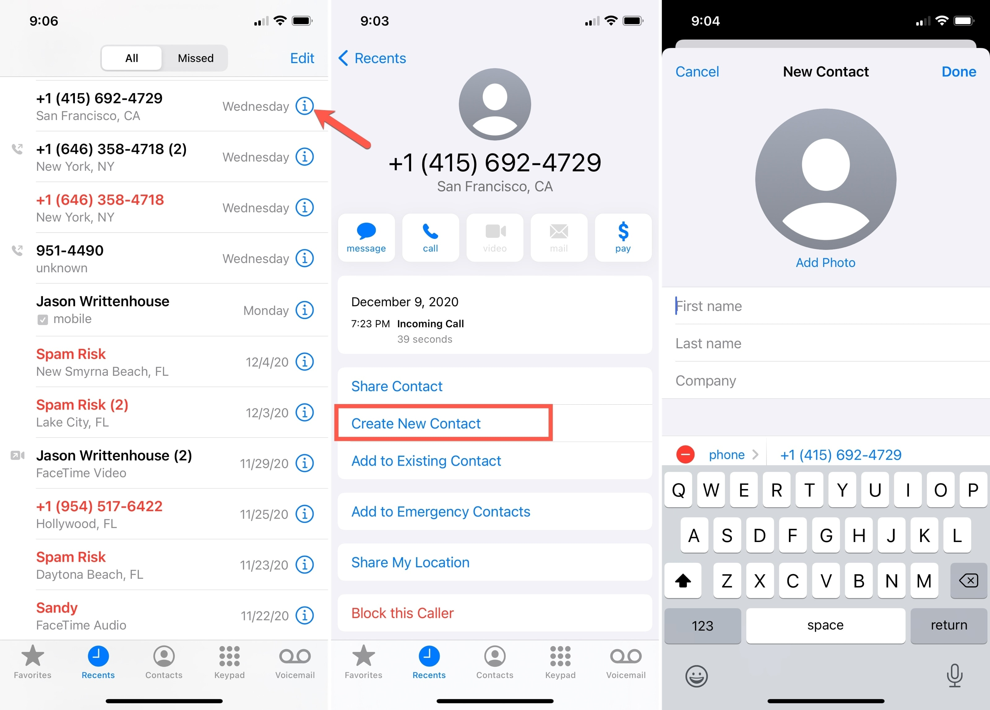 Create New Contact Phone App iPhone