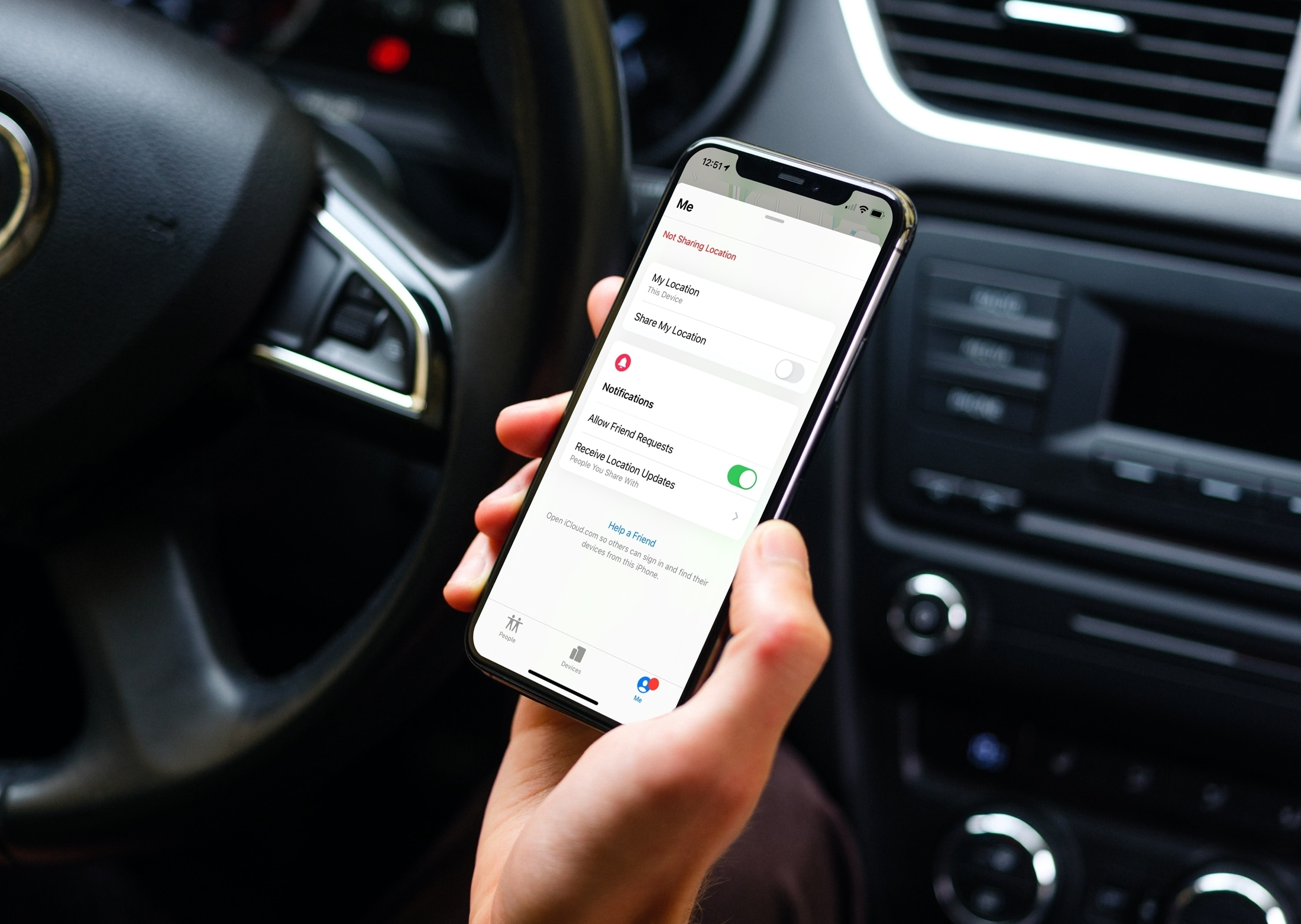 Disable Location Sharing in Find My on iPhone in the Car