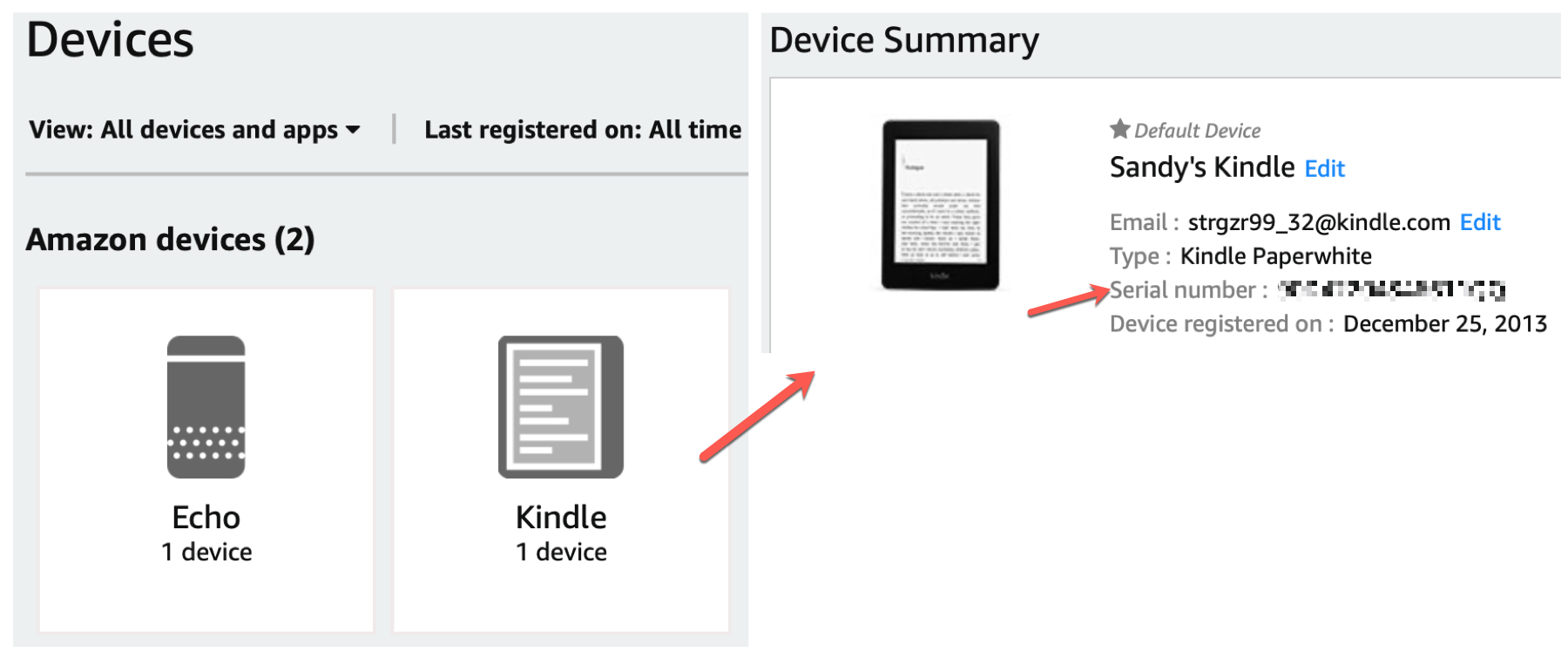 Kindle Paperwhite Serial Number on Amazon