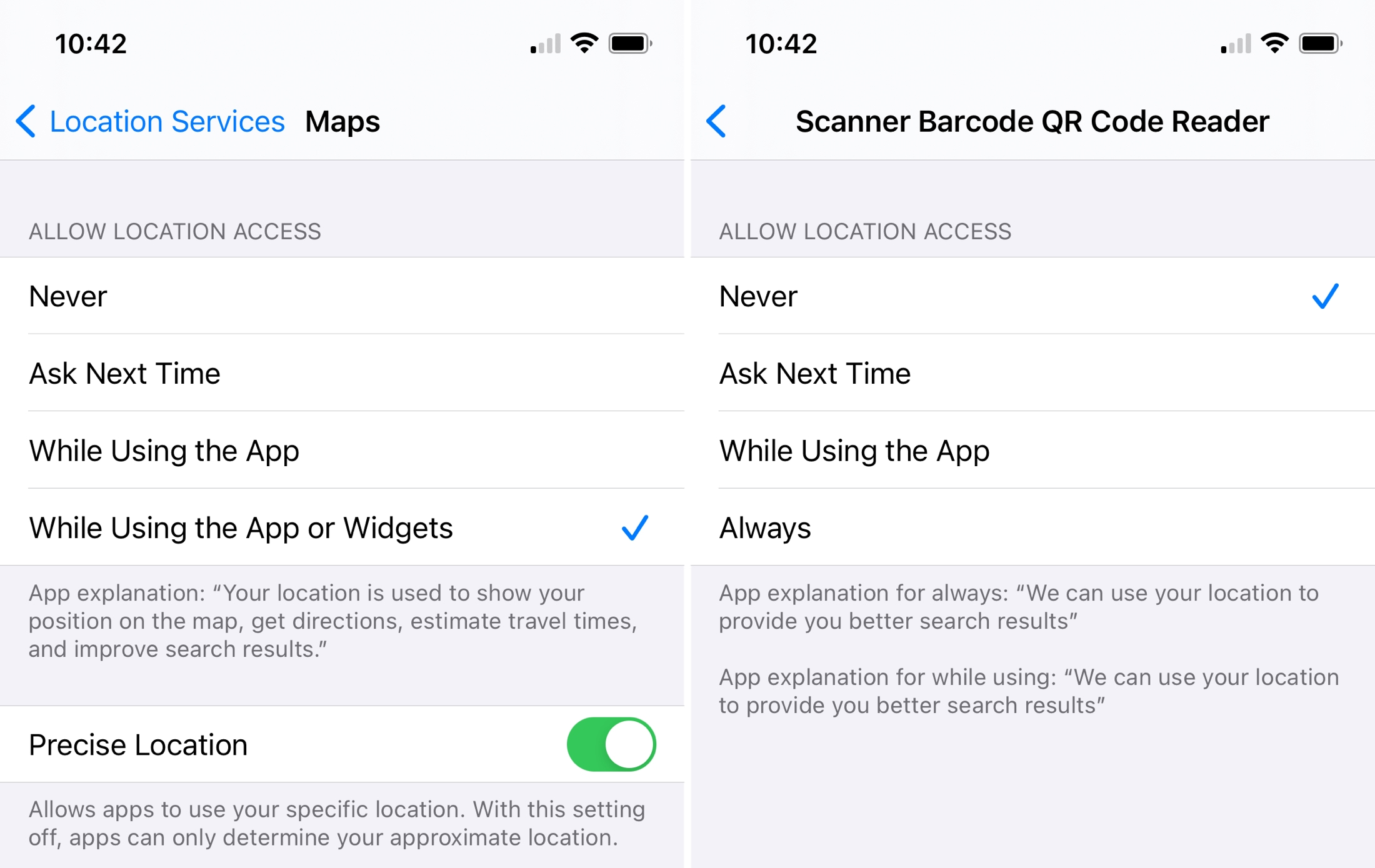 Location Settings Per App