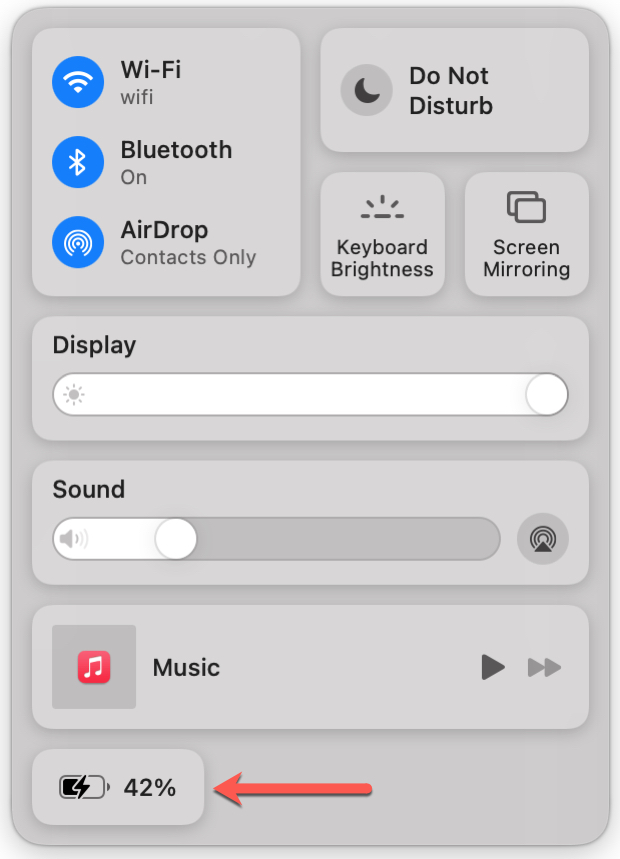 Mac Control Center with Battery Percentage