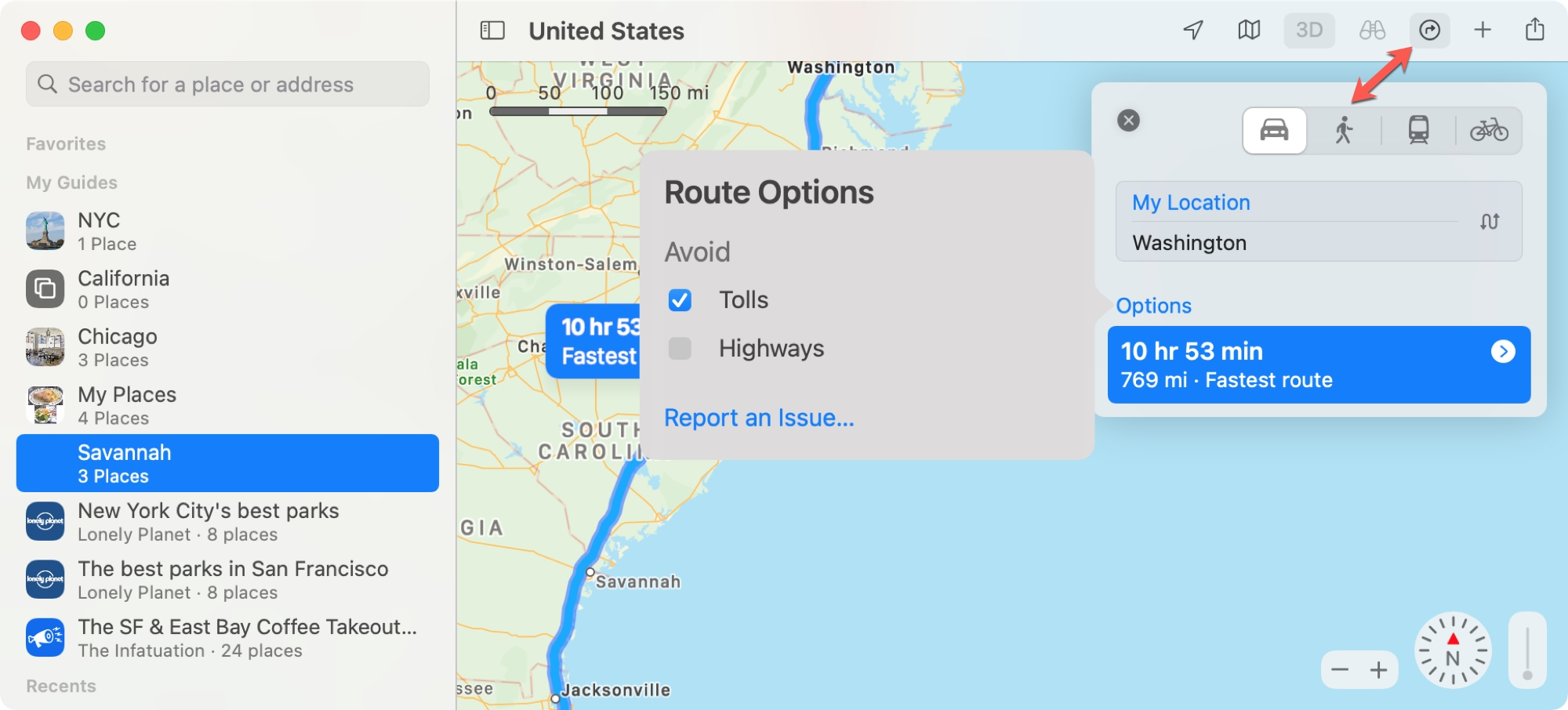 Mac Maps Directions Options