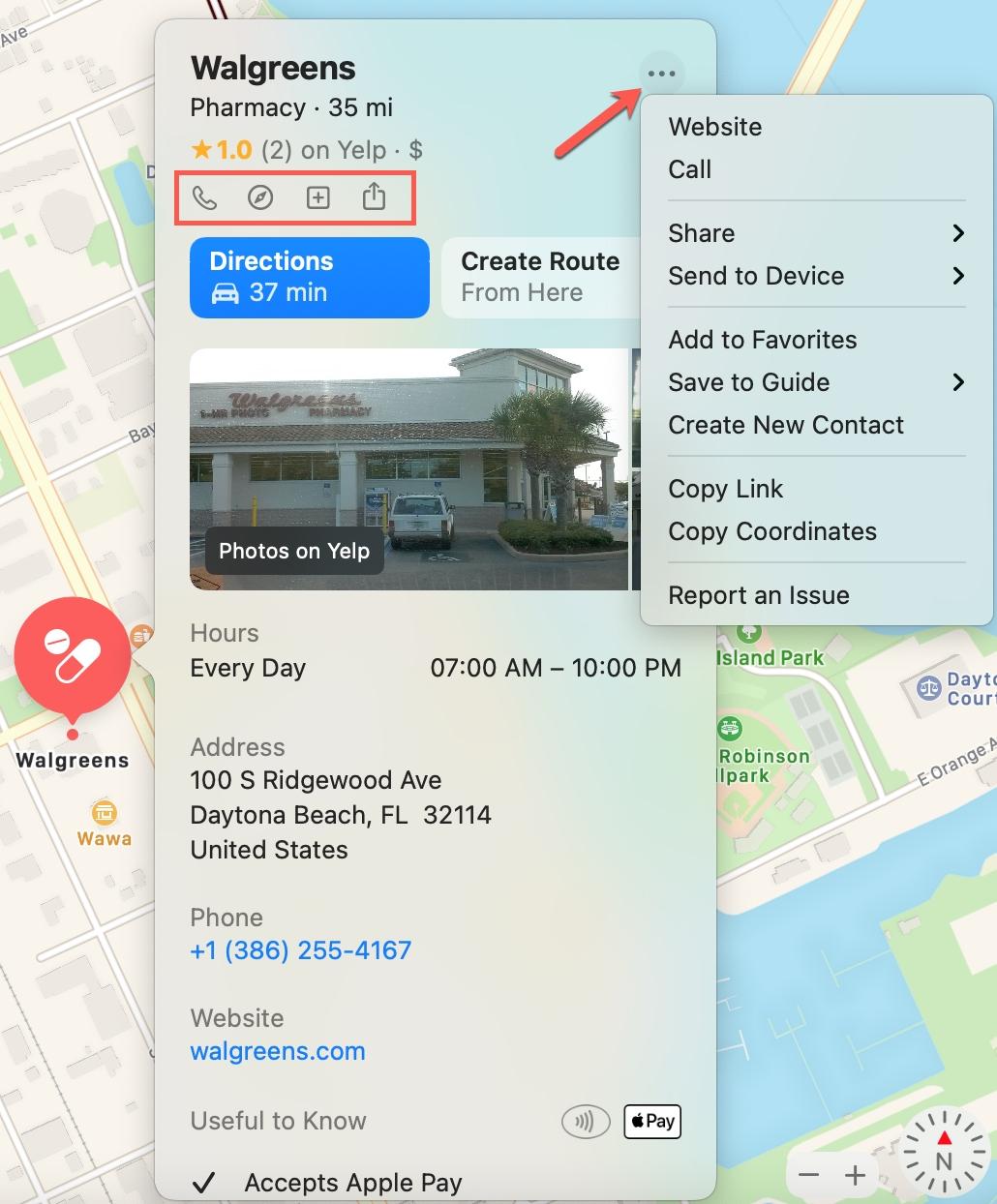 Mac Maps Location Details