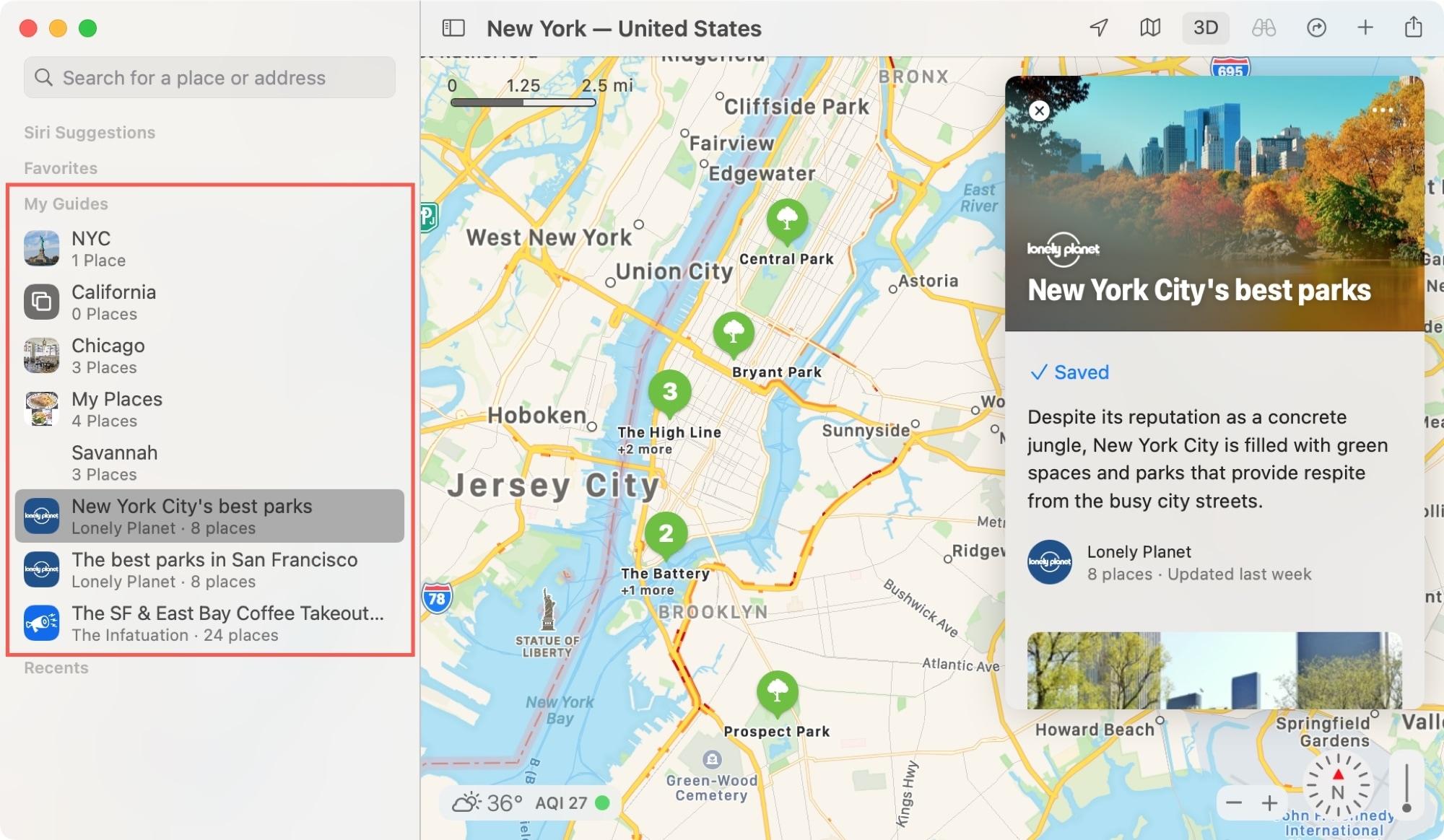 Mac Maps Sidebar My Guides
