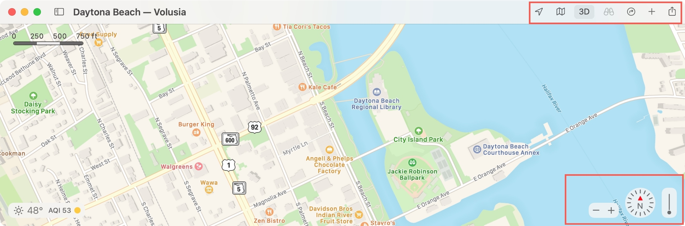 Maps Toolbar and Navigation