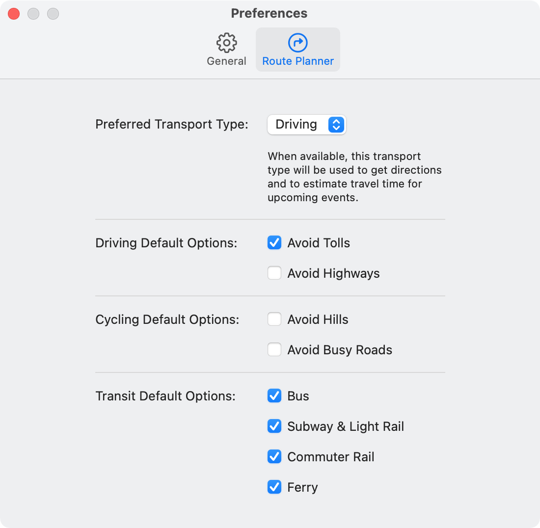 Maps Preferences Route Planner