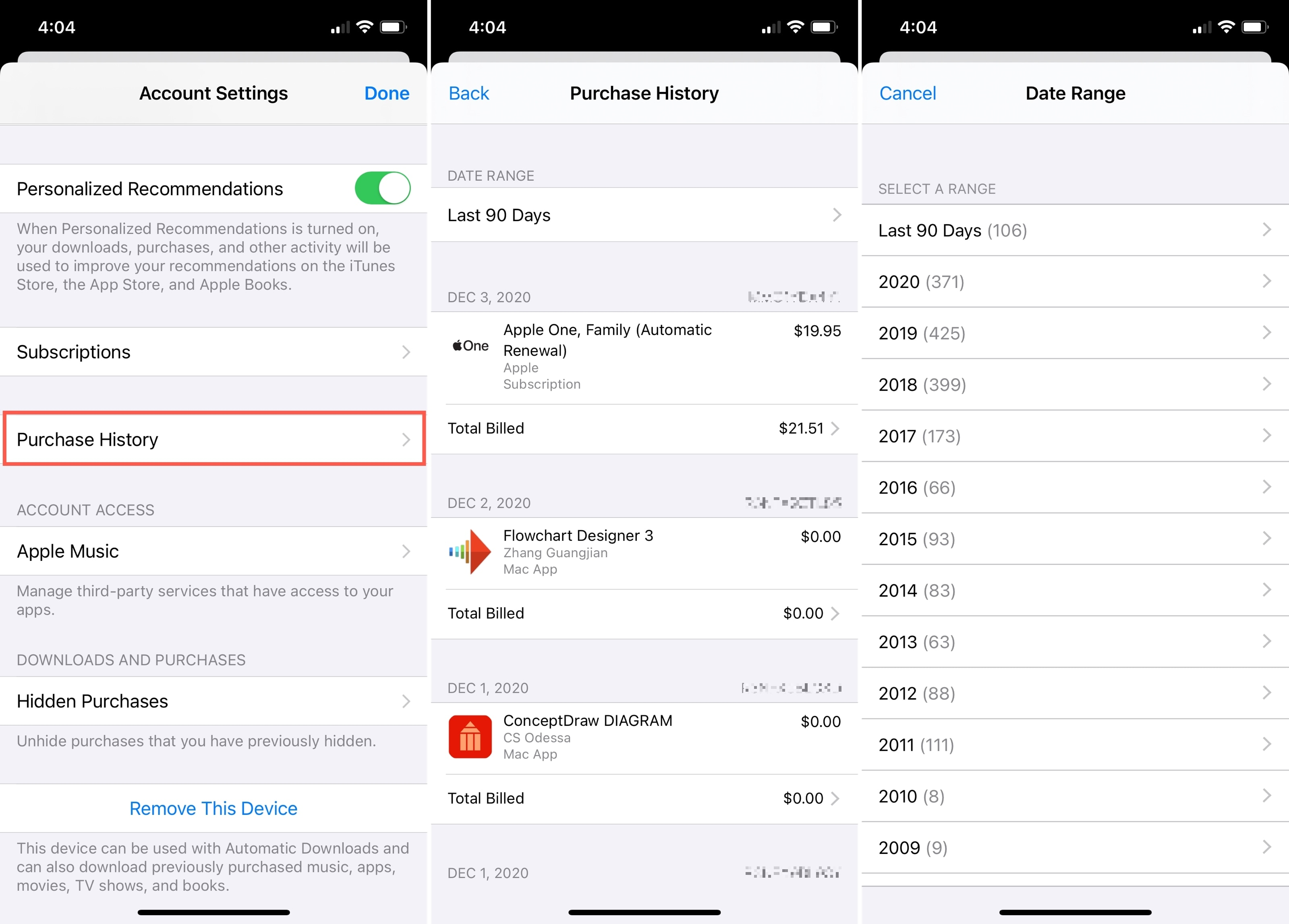 Media Purchases and History with Prices on iPhone