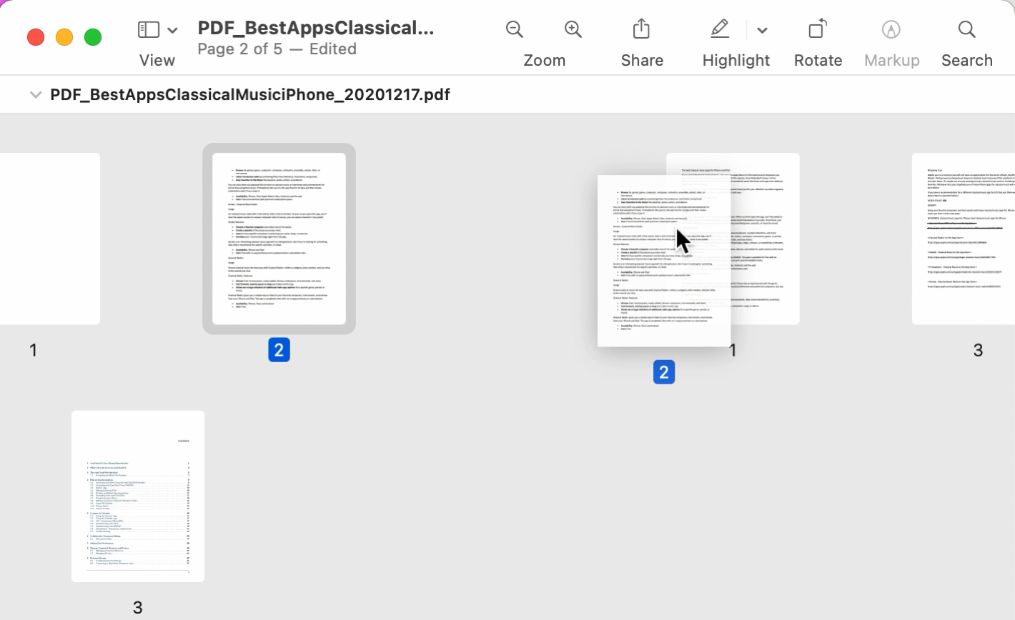 Move a Page in a PDF in Preview