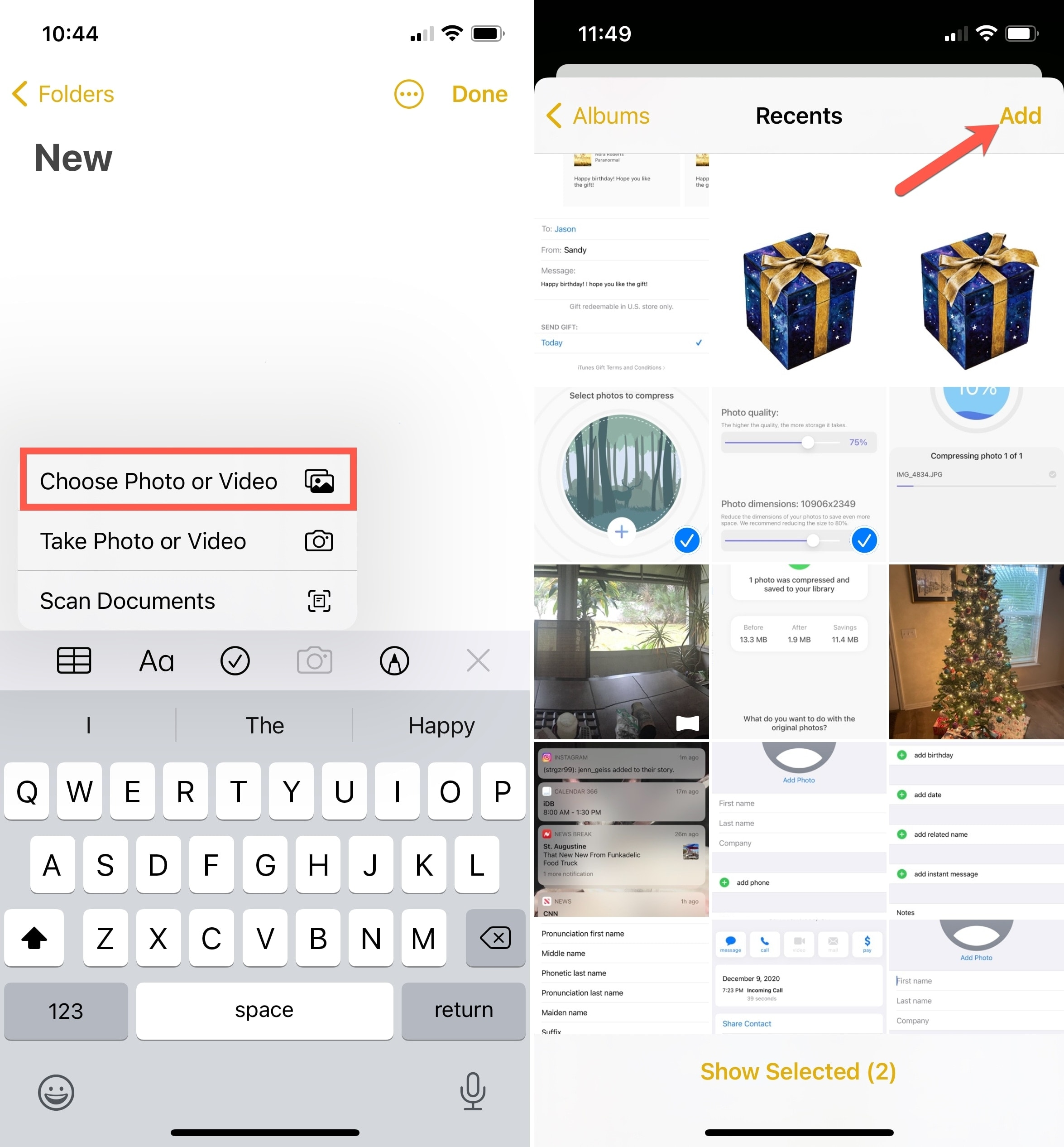 Notes Choose Photo or Video on iPhone