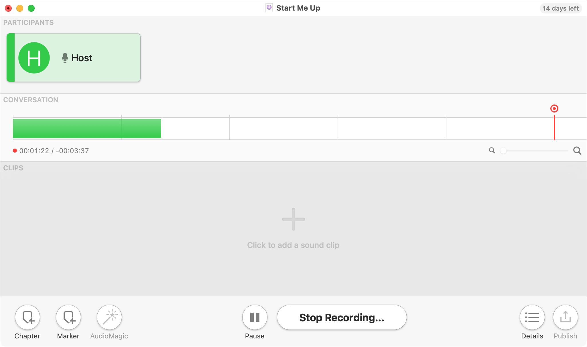 Podcast Studio app on Mac