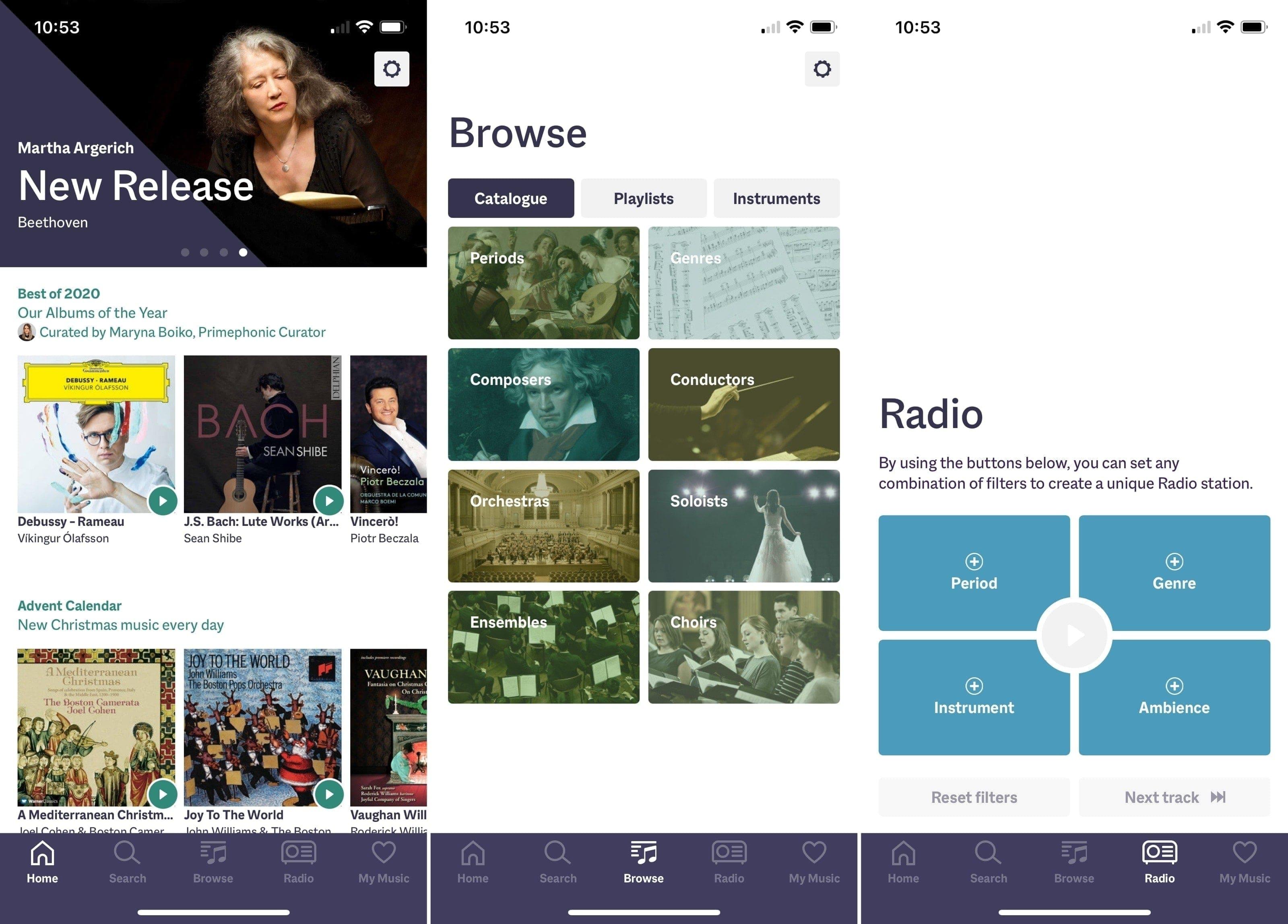 Primephonic app on iPhone