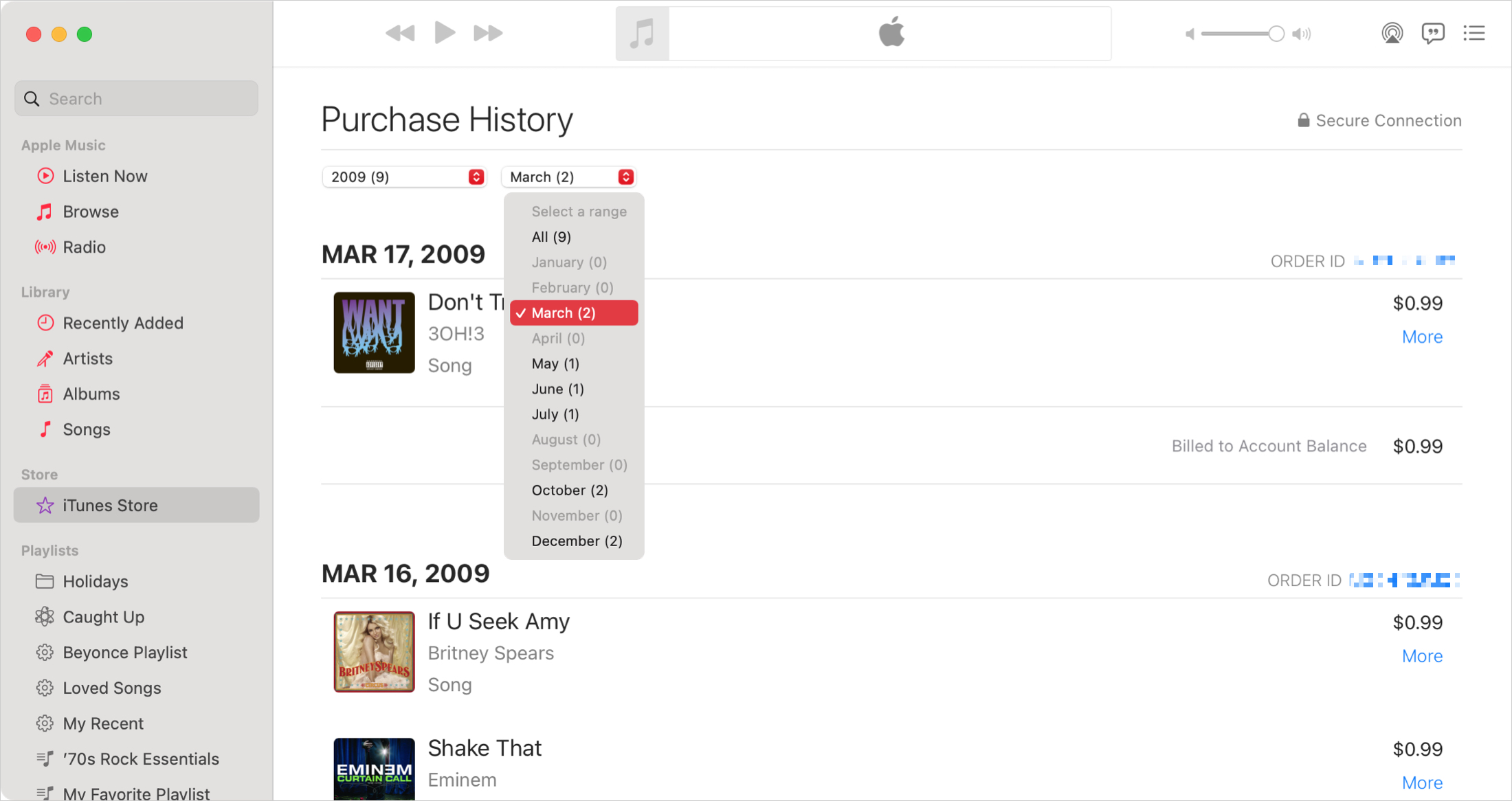 Purchase History with Prices on Mac