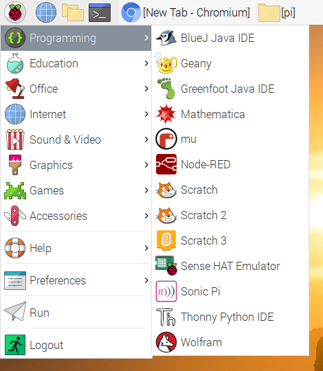 Raspberry Pi OS Desktop Applications Menu Programming