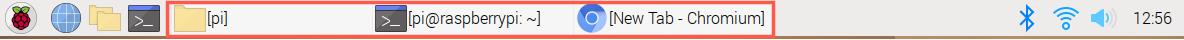 Raspberry Pi OS Desktop Task Bar Open apps