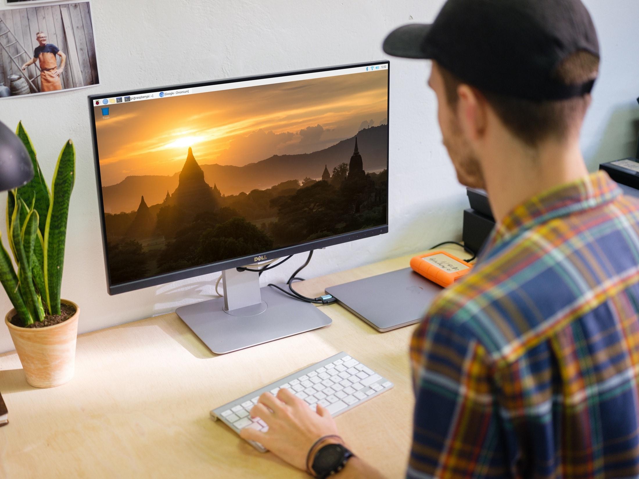 Raspberry Pi OS Desktop on Monitor