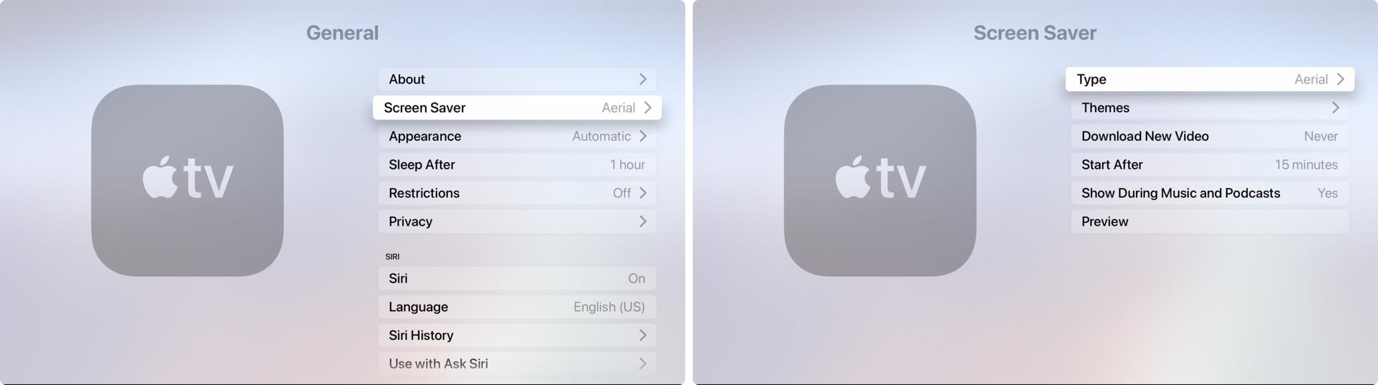 Settings General Screen Saver Type