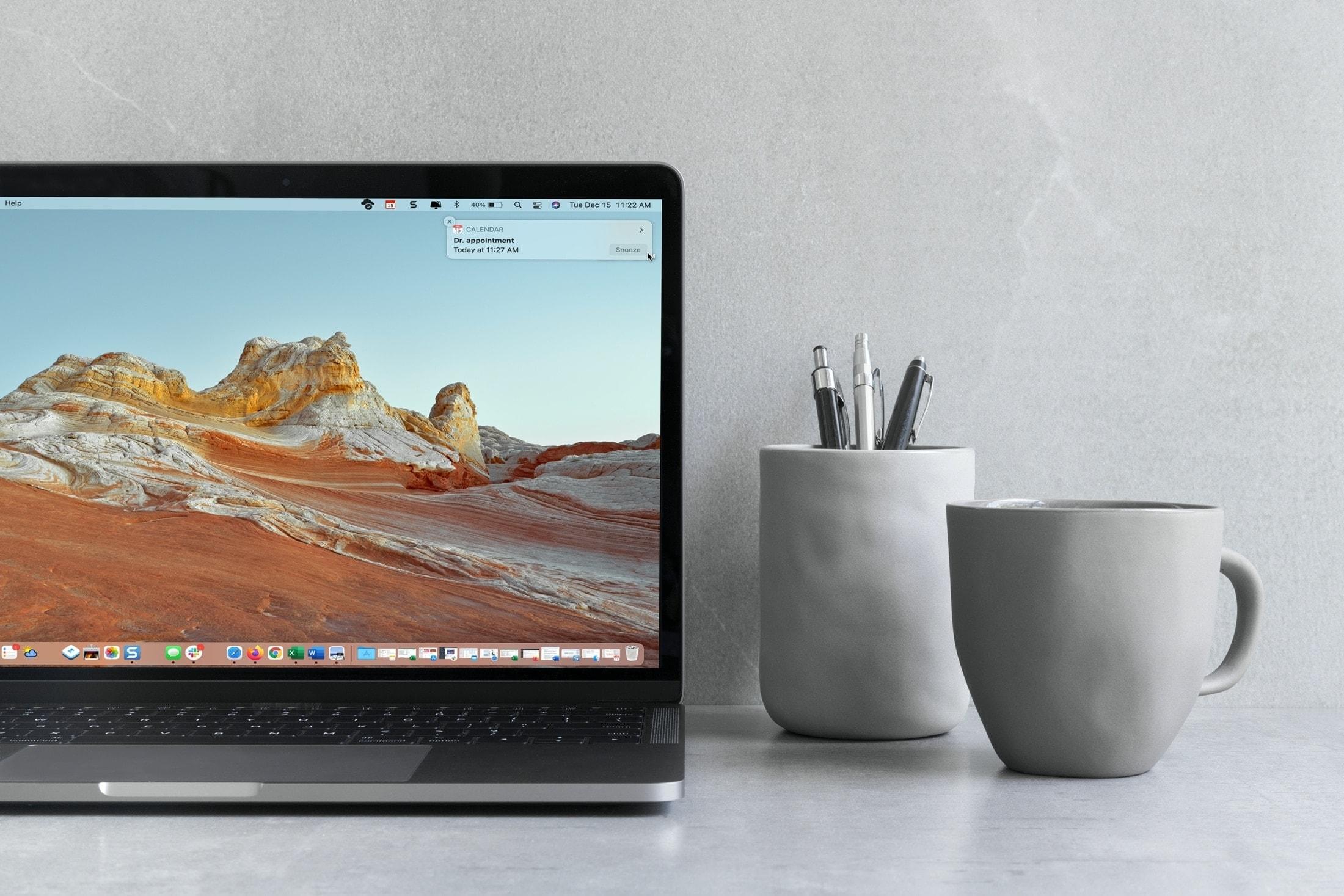 Snooze Calendar Event on MacBook Screen