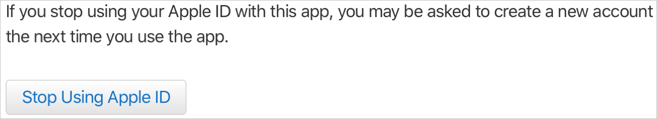 Stop Using Apple ID Sign In