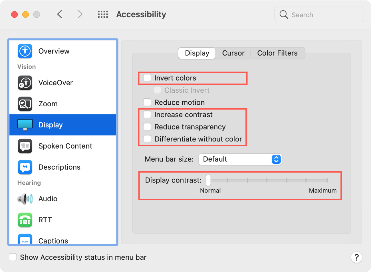 System Preferences Accessibility Display
