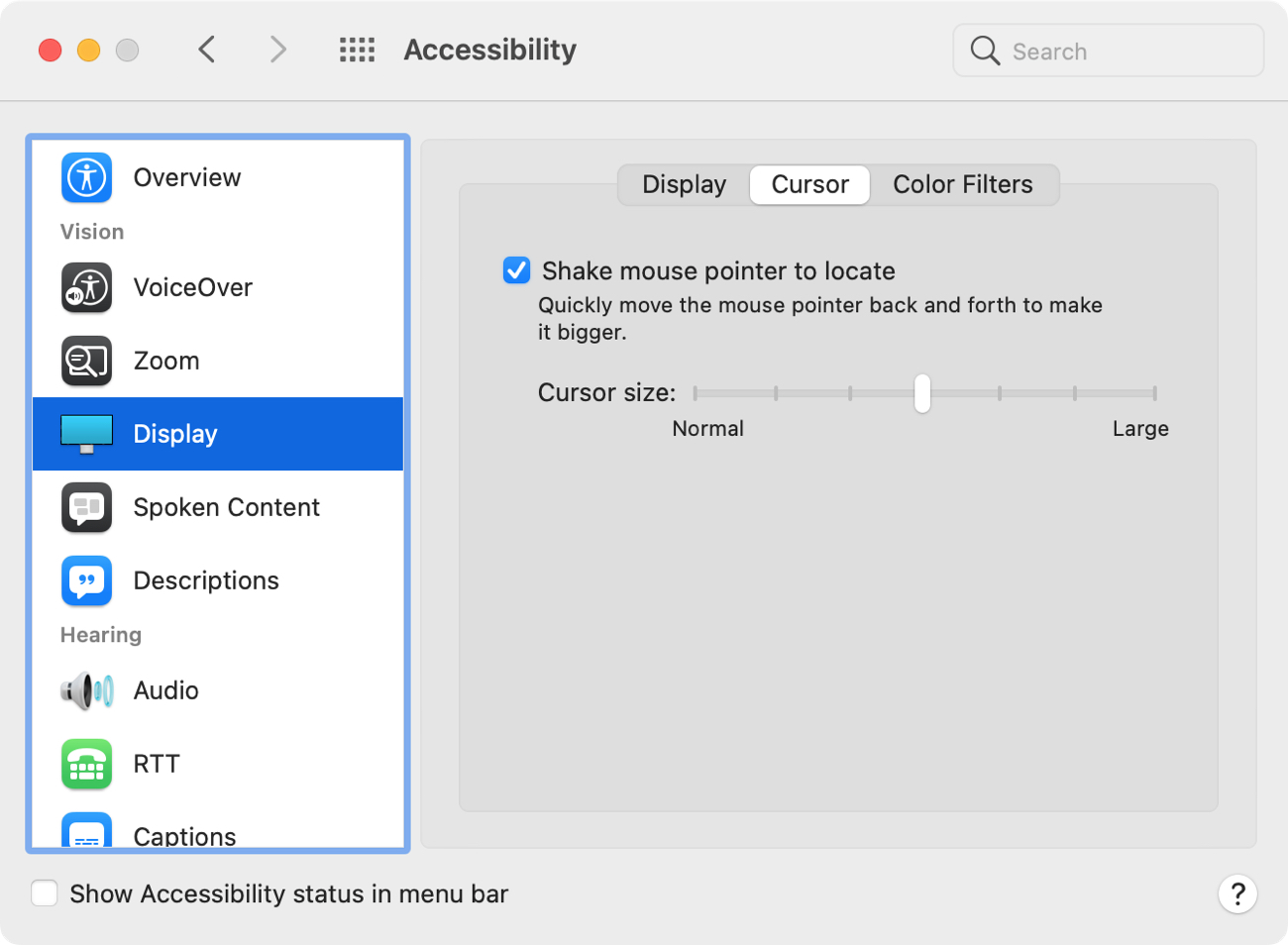 System Preferences Accessibility Display Cursor