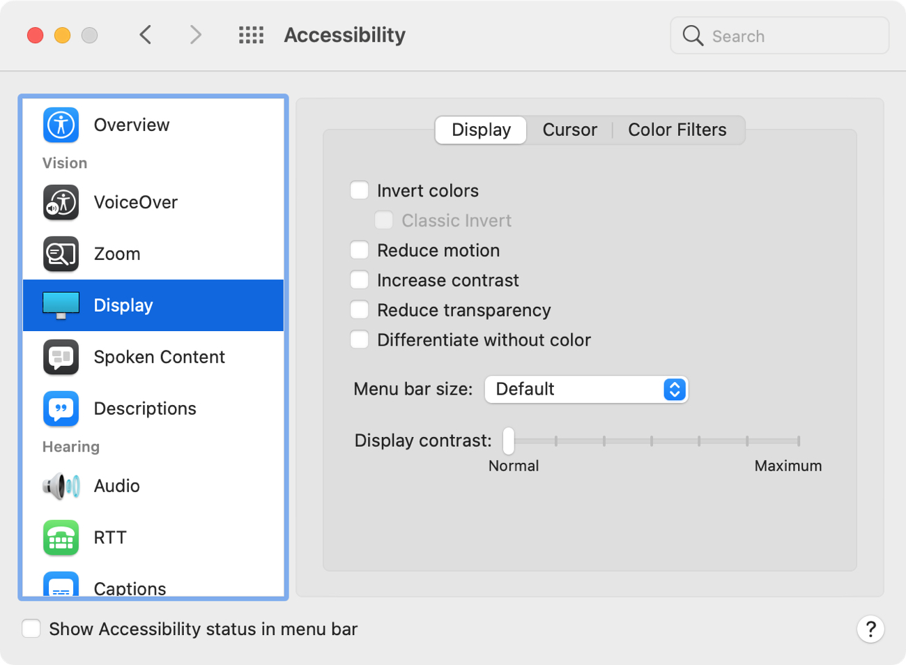 System Preferences Accessibility Display Settings
