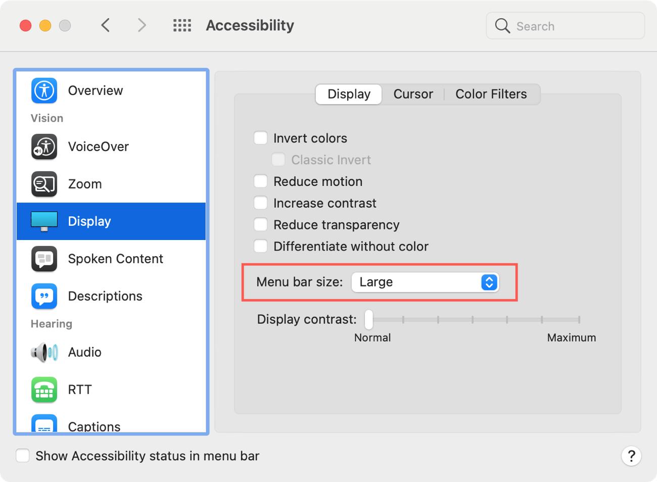 System Preferences Accessibility Menu Bar Size