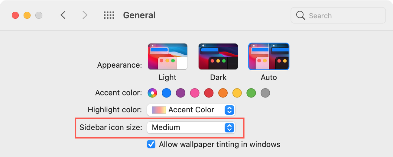 System Preferences General Sidebar Icon Size
