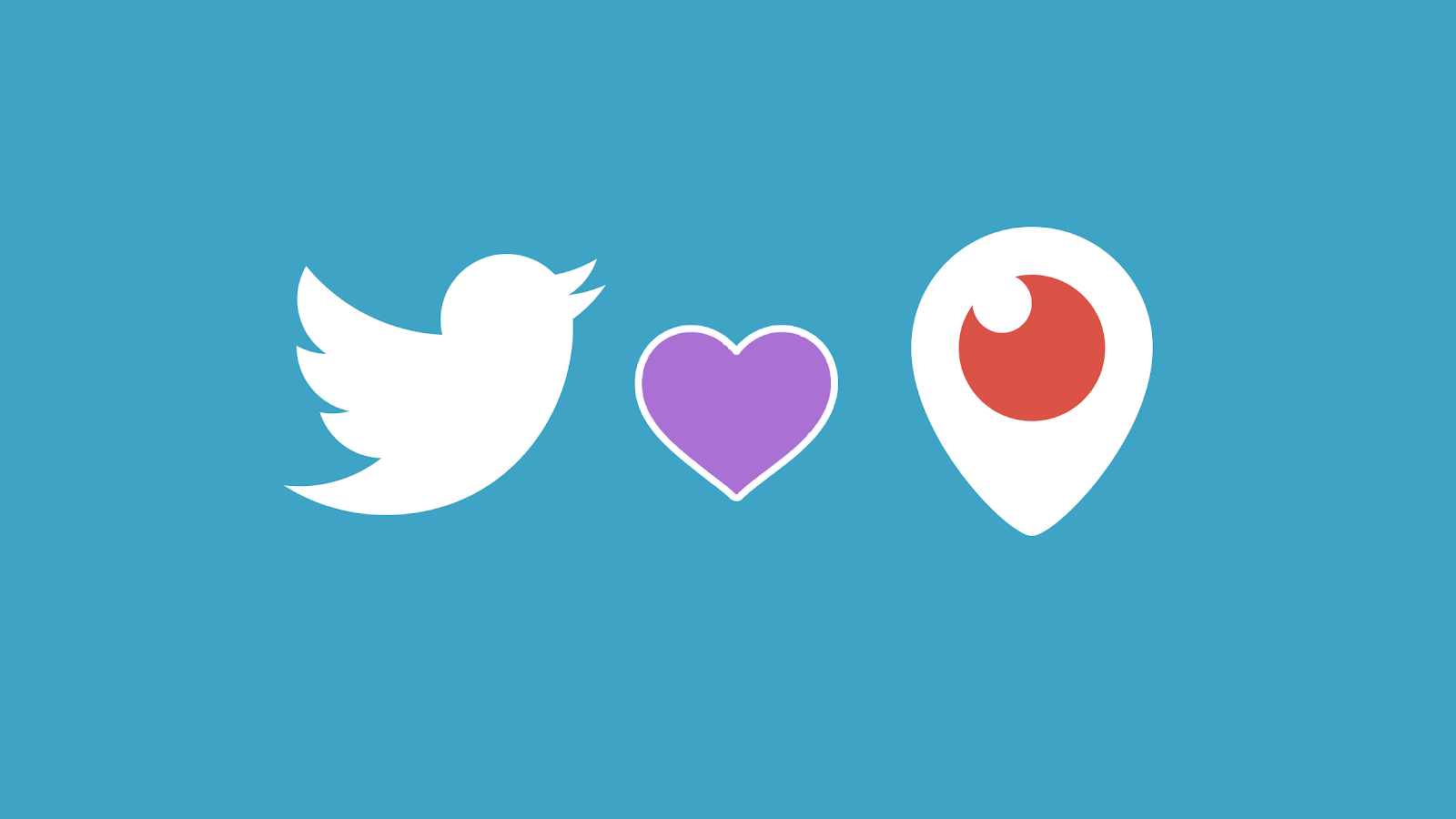 An illustration showing logos of Twitter and Periscope set against a light blue background