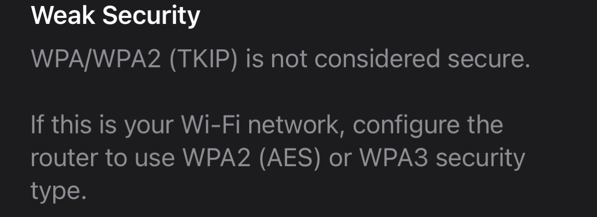 Weak Security Message Wi-Fi