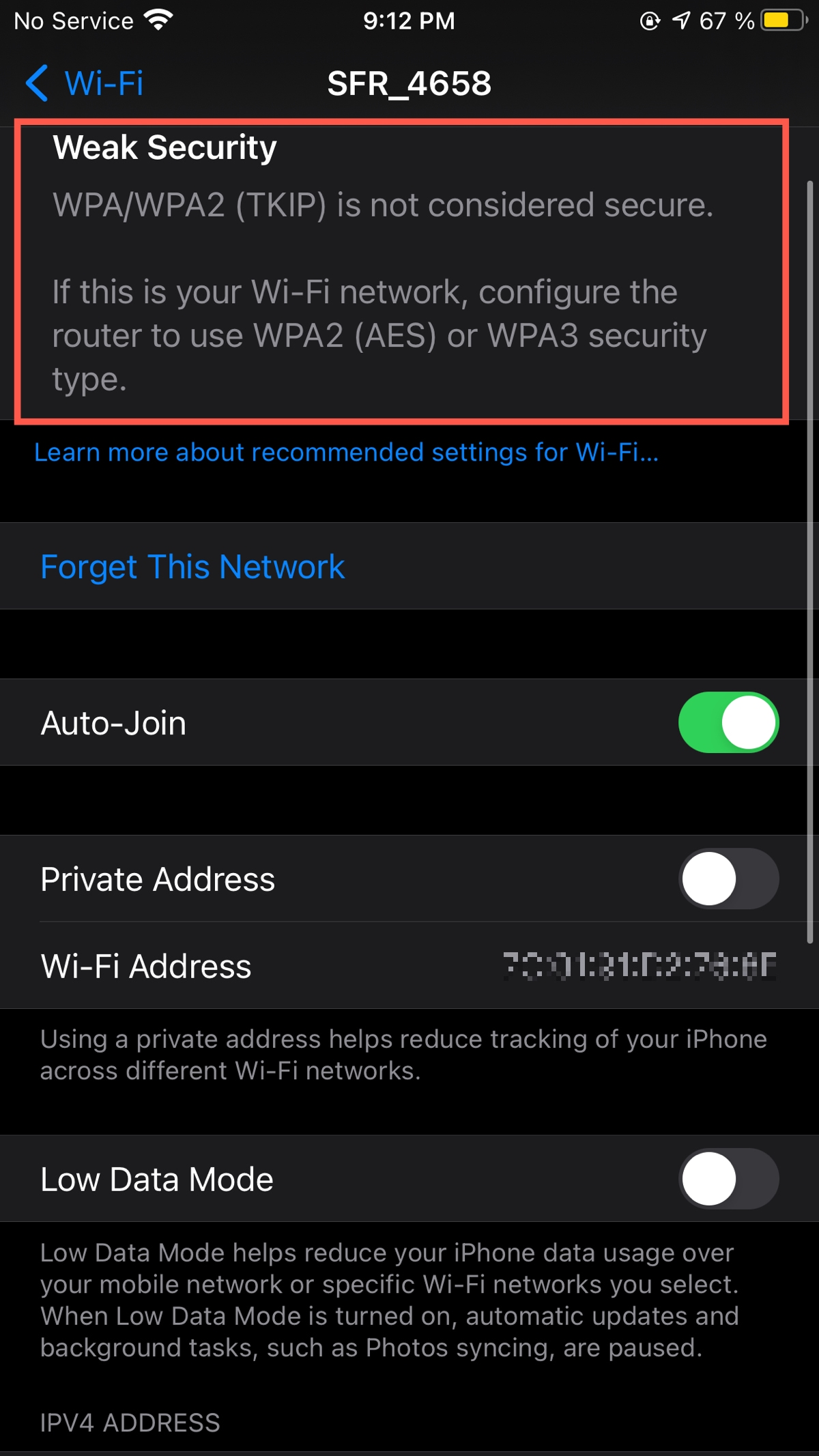 Weak Security Warning for Wi-Fi on iPhone
