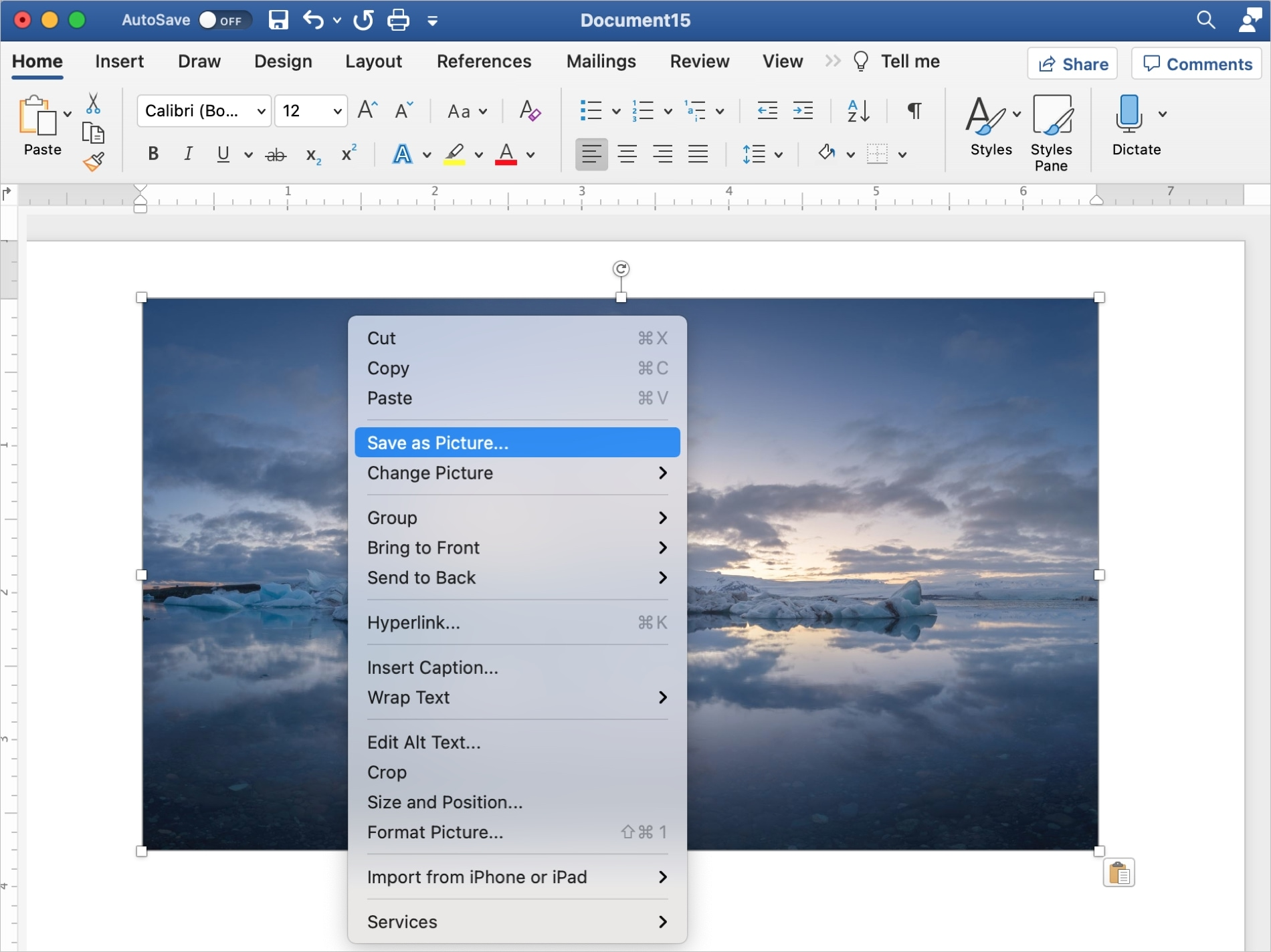 Word Save as Picture on Mac