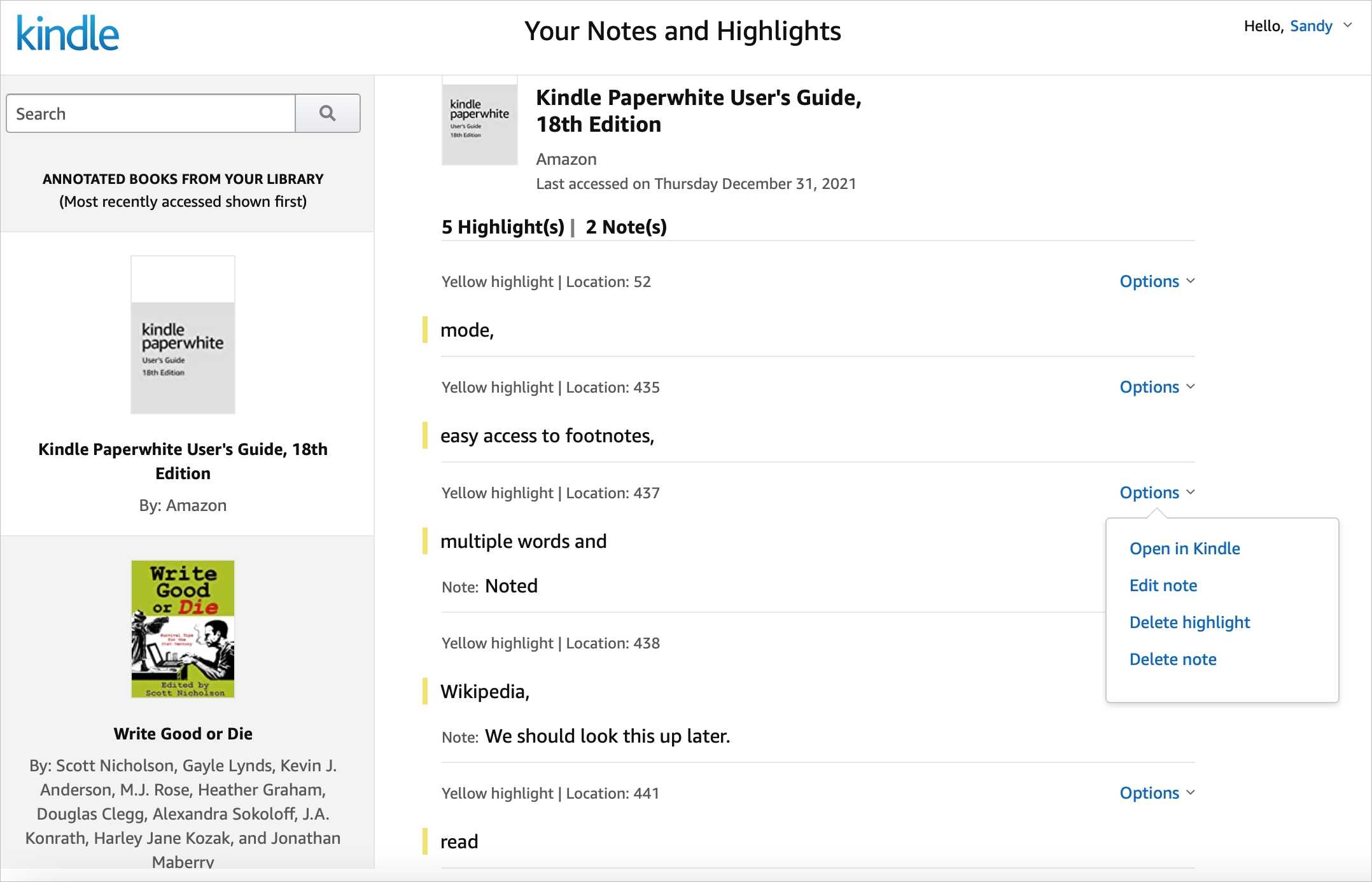 Your Kindle Notes and Highlights Online