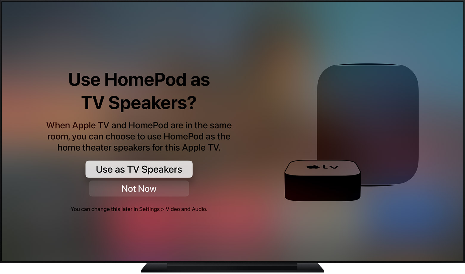 Apple TV surround sound - Apple TV prompt asking to use HomePod as a TV speaker