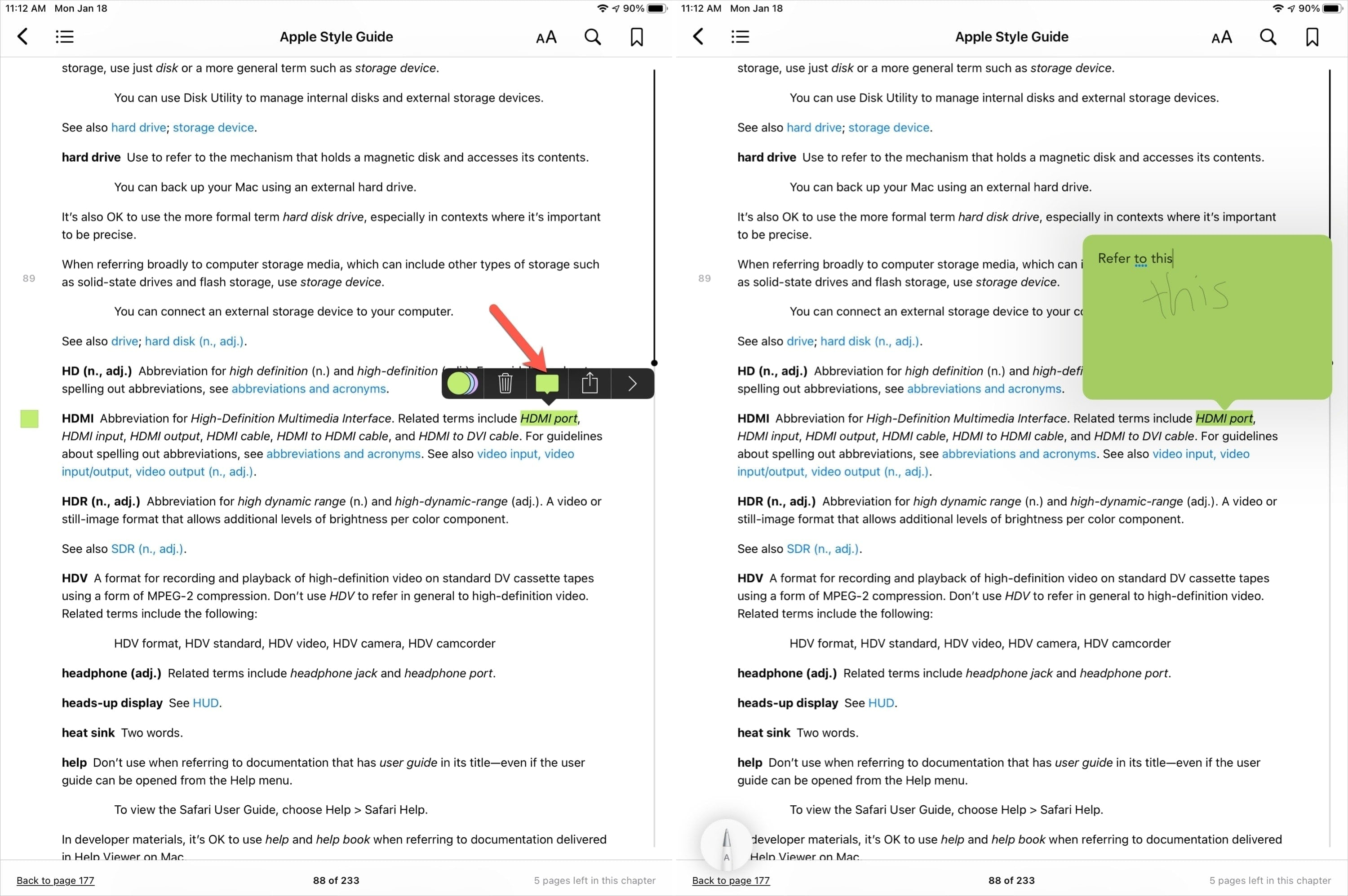Add Note Highlight in Books with Apple Pencil
