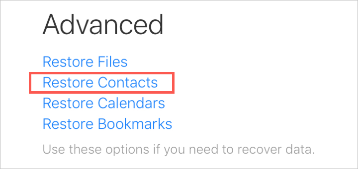 Advanced Restore Contacts on iCloud