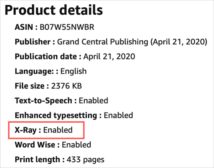 Amazon Book Product Details XRay Enabled